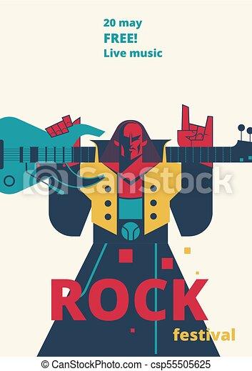 Rock Music Festival Poster Vector Illustration For Live Concert Placard Of Rocker Man With