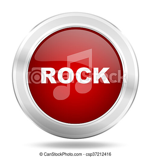 rock music icon, red round glossy metallic button, web and mobile app design illustration - csp37212416