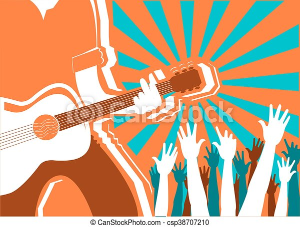 rock musician concert background.Vector poster - csp38707210