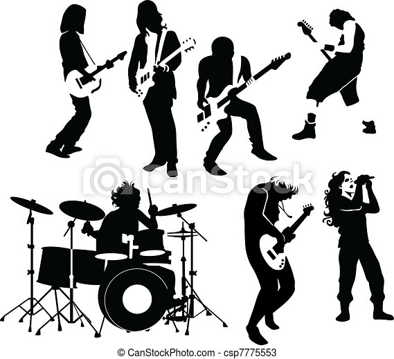 rock musicians silhouette of rock and roll musicians
