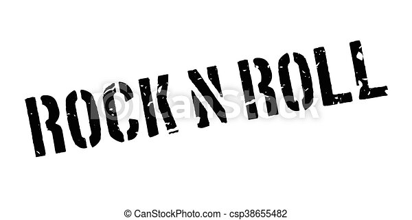 Rock n roll rubber stamp - csp38655482