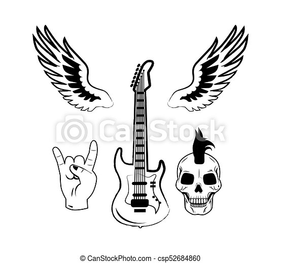 Rock N Roll Symbol Electric Guitar Punk Skull Icon Set Of Rock N
