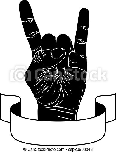 Rock On Hand Creative Sign With Ribbon Music Emblem Rock N Roll