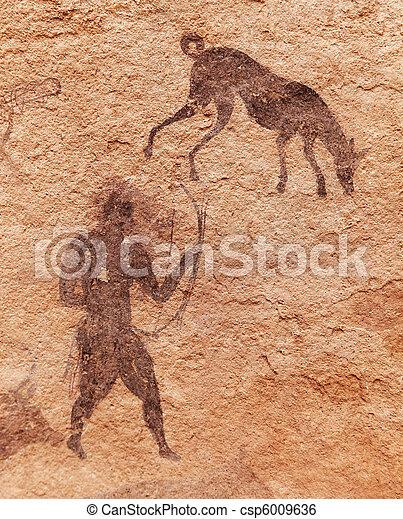 Rock paintings of Tassili N'Ajjer, Algeria - csp6009636