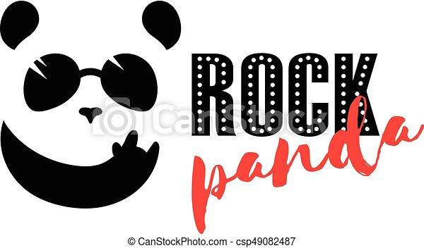 Rock Panda Logo Funny Music Panda Mascot Bar Symbol