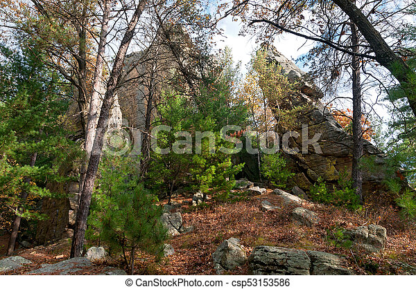 Rock Spires and Forest at Petenwell - csp53153586