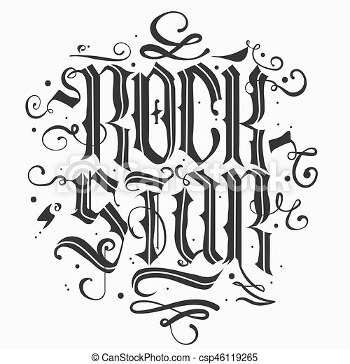 rock star lettering rock star lettering print for card poster or t