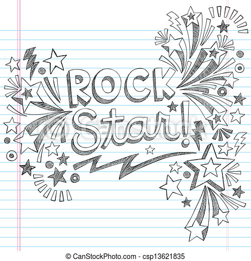 Rock Star Music Sketchy Doodle - csp13621835