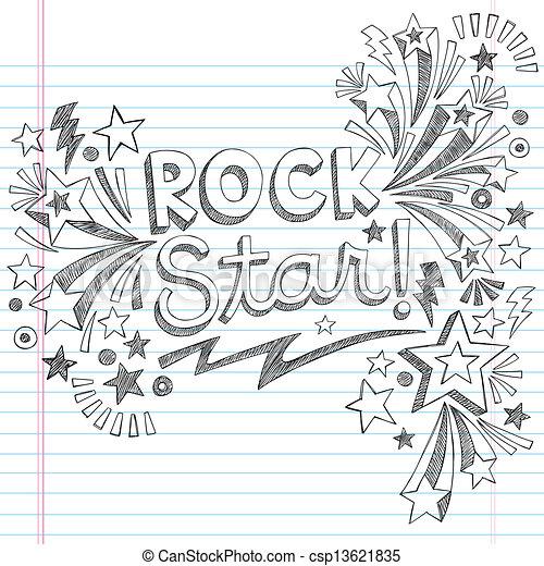 Rock Star Music Sketchy Doodle - csp13621835