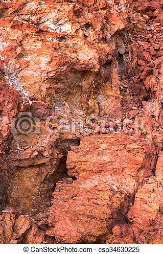rock texture with deposits of iron ore and copper close up view of