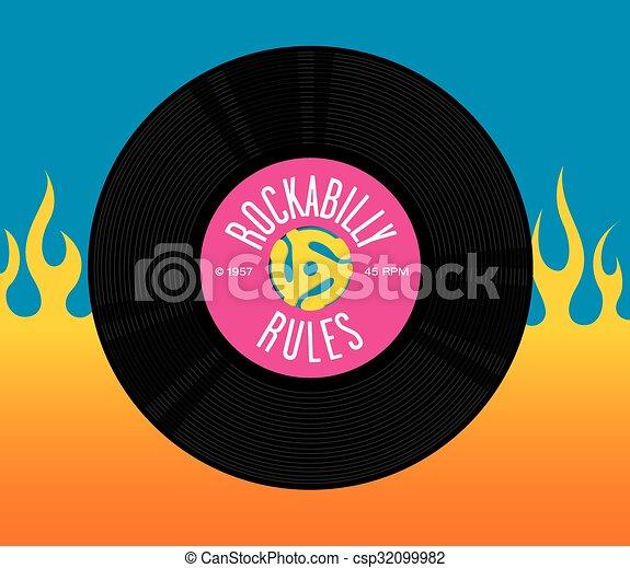 Rockabilly Rules Record Design - csp32099982