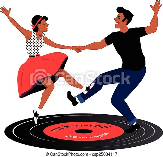 Rockabilly Couple Dancing On A Vinyl Record Vector Vector Clip Art Search Illustration
