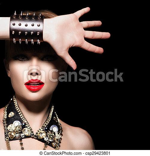 rocker, stil, mode, schoenheit, punker, girl., porträt, modell - csp29423801