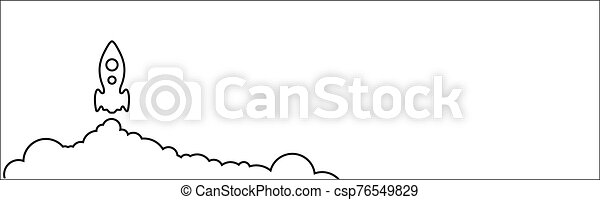 Rocket abstract icon on the white background - csp76549829