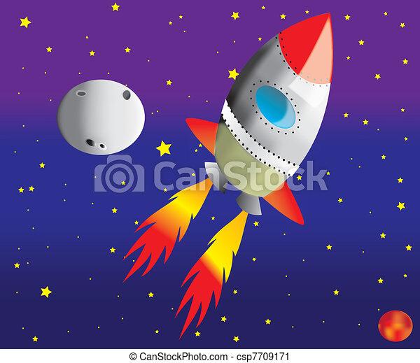 Rocket in space,vector - csp7709171