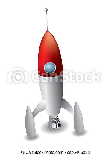 Rocket isolated on white background - csp6406838