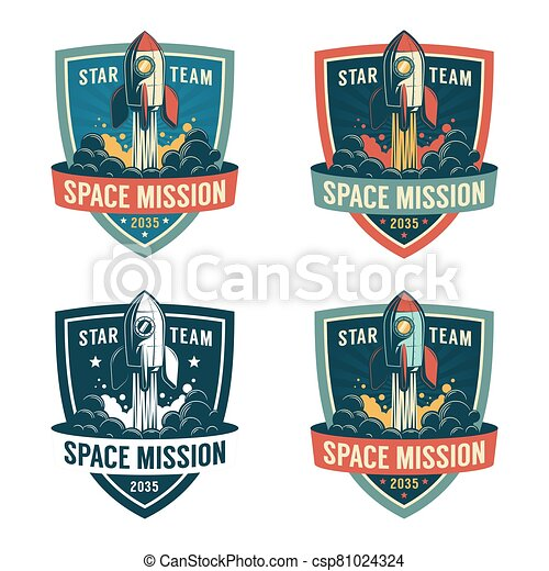 Rocket launch to the space - astronaut retro shield. - csp81024324