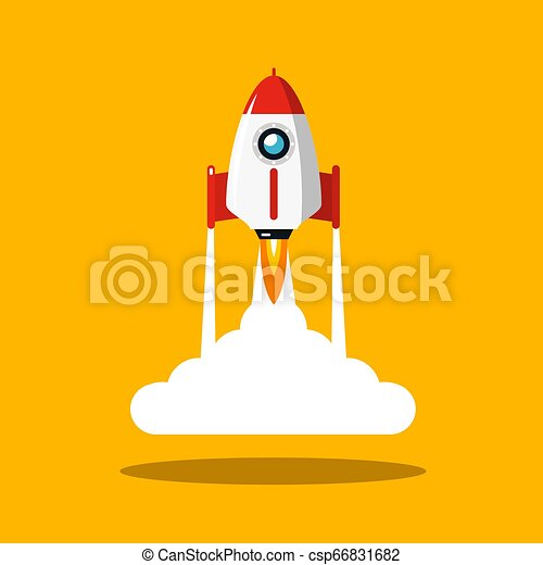Rocket Launch Vector Symbol. Spaceship Flat Design Icon on Yellow Background. - csp66831682