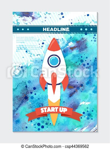 Rocket ship in a flat style. Vector illustration with 3d flying rocket. - csp44369562