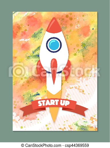 Rocket ship in a flat style. Vector illustration with 3d flying rocket. - csp44369559