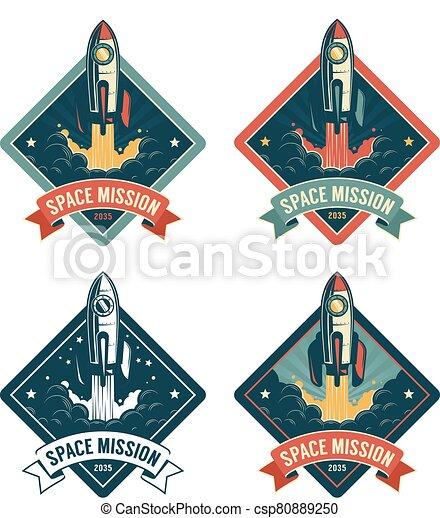 Rocket start in space vintage badge - csp80889250
