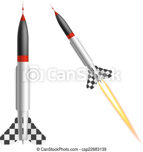 Rockets on a white background. Vector illustration - csp22683139