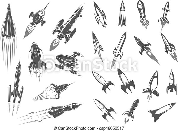 Rockets Vector Spaceship Cartoon Retro Icons Set Rocket Or