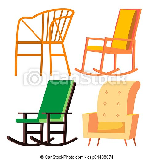 Pleasant Rocking Chair Vector Retro Furniture Comfortable Home Wooden Chair Isolated Cartoon Illustration Machost Co Dining Chair Design Ideas Machostcouk