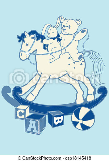 Rocking horse and friends. - csp18145418
