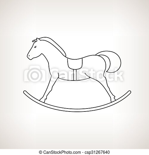 Christmas Horse Drawing.Rocking Horse On A Light Background