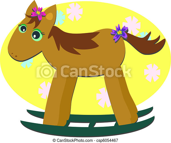 Rocking Horse with Floral Backgroun - csp6054467