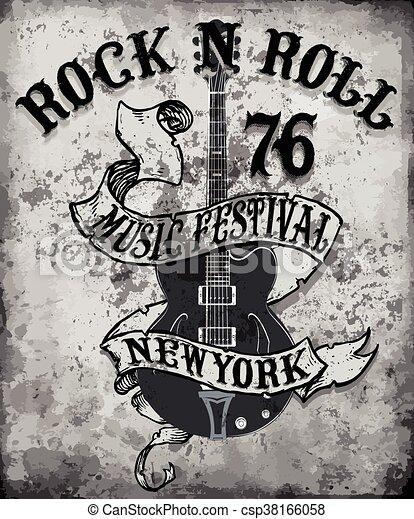rock n roll poster guitar graphic design tee vector art