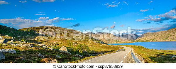 Rocks and blue skies in Norway - csp37953939
