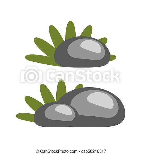 Rocks and Grass Collection Vector Illustration - csp58246517