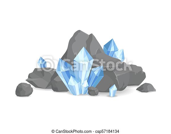 Rocks and Minerals Collection Vector Illustration - csp57184134