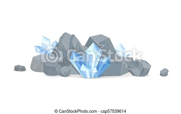 Rocks and Minerals Collection Vector Illustration - csp57539614