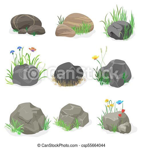 Rocks and stones with grass, flowers and butterfly collection set. Vector illustration. - csp55664044