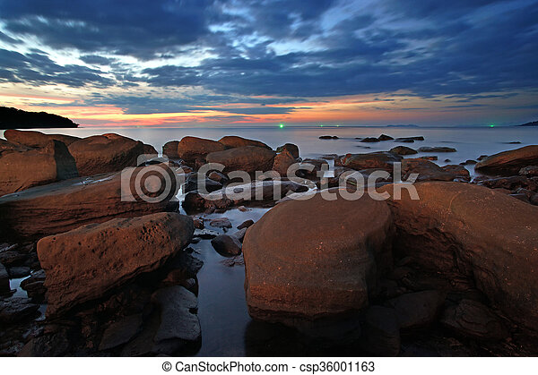 rocks in calm sea - csp36001163