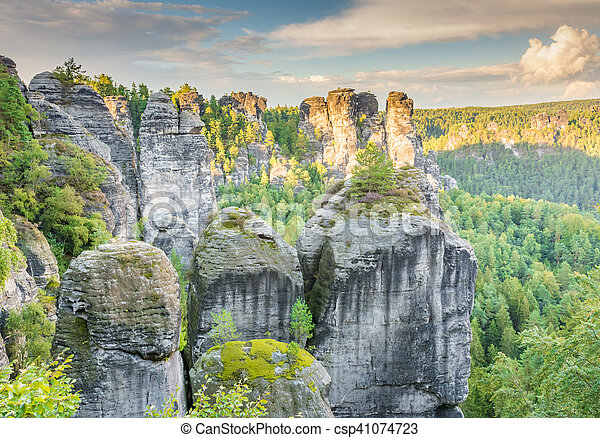 Rocks in the Elbe Sandstone Mountains - csp41074723