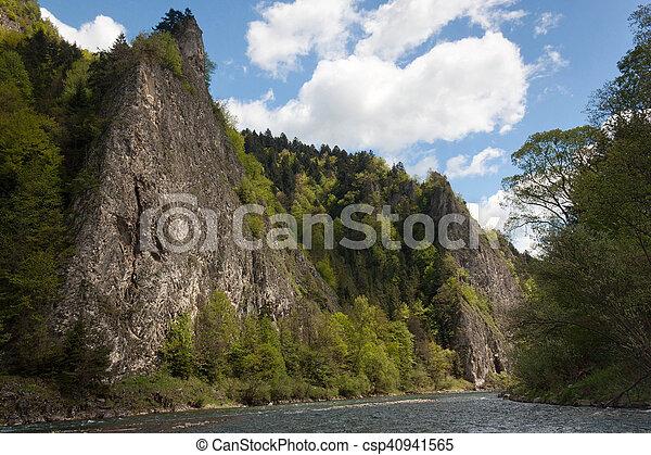 Rocks in the Pieniny National Park in Slovakia. On the river Dunajec. - csp40941565