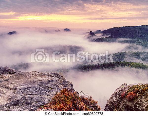 Rocks on the edge of a mountain. Foggy mountain valley - csp69699778