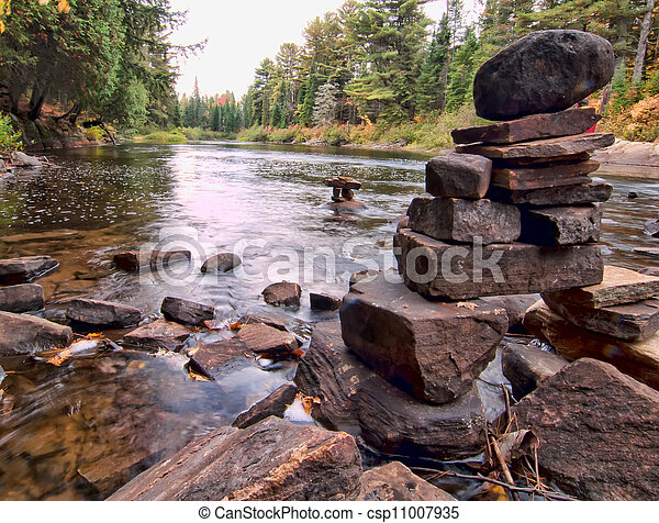 Rocks Stacked On River In Algonquin Park - csp11007935