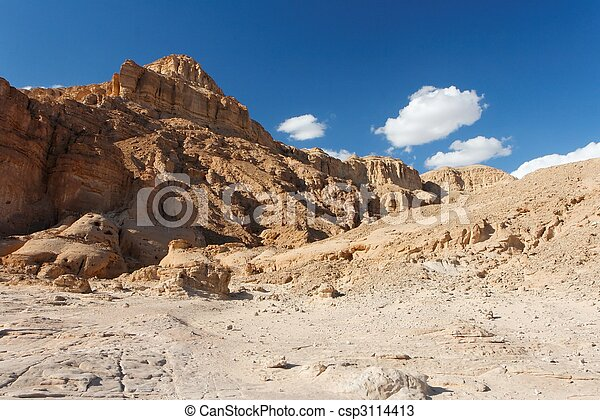 Rocky desert landscape in Timna national park in Israel - csp3114413