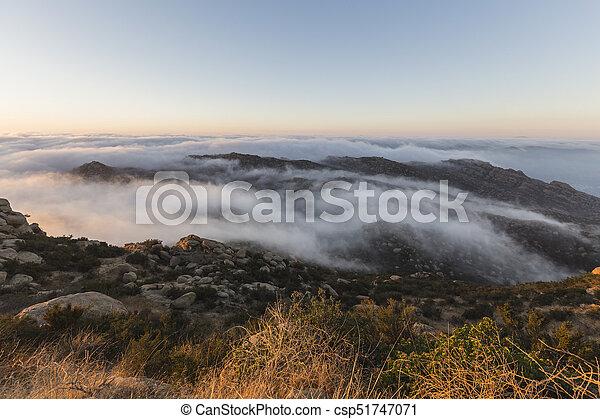 Rocky Peak Morning Fog Los Angeles County California - csp51747071