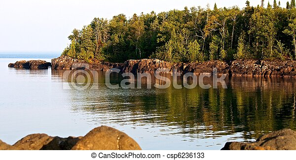 Rocky Shore, Grand Marais, Minnesota - csp6236133