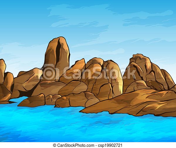 Rocky Shore Vector Illustration Search Clipart Drawings