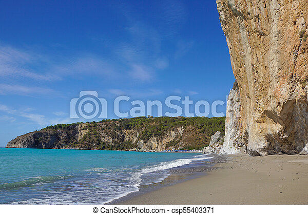 rocky wall on the beach in Italy - csp55403371