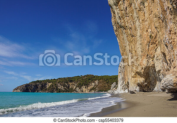 rocky wall on the beach in Italy - csp55403379