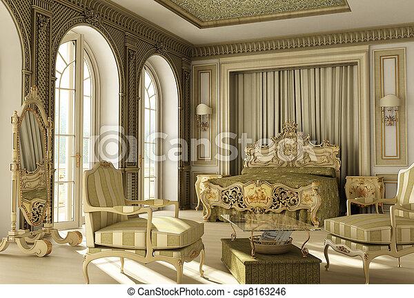 rococo, 贅沢, 寝室 - csp8163246