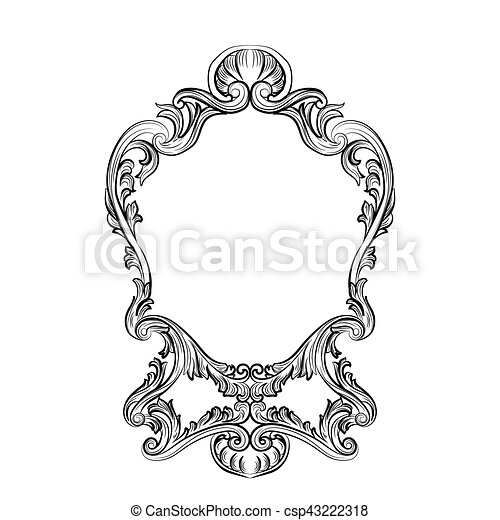 mirror frame drawing. Rococo Mirror Frame Decor - Csp43222318 Mirror Drawing